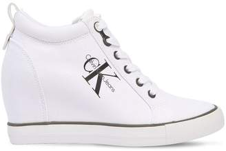 Calvin Klein Jeans 70mm Ritzy Cotton Canvas Wedge Sneakers