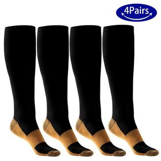 ODOLAND 4 Pairs Elastic Compression Socks for Men Women, Non-shedding Moisture-wicking for Running Hiking Cycling