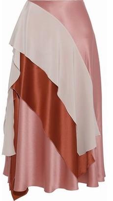 Roksanda Mahira Draped Color-block Silk-satin Midi Skirt
