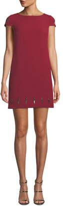 Badgley Mischka Grommet-Trim Mini Dress