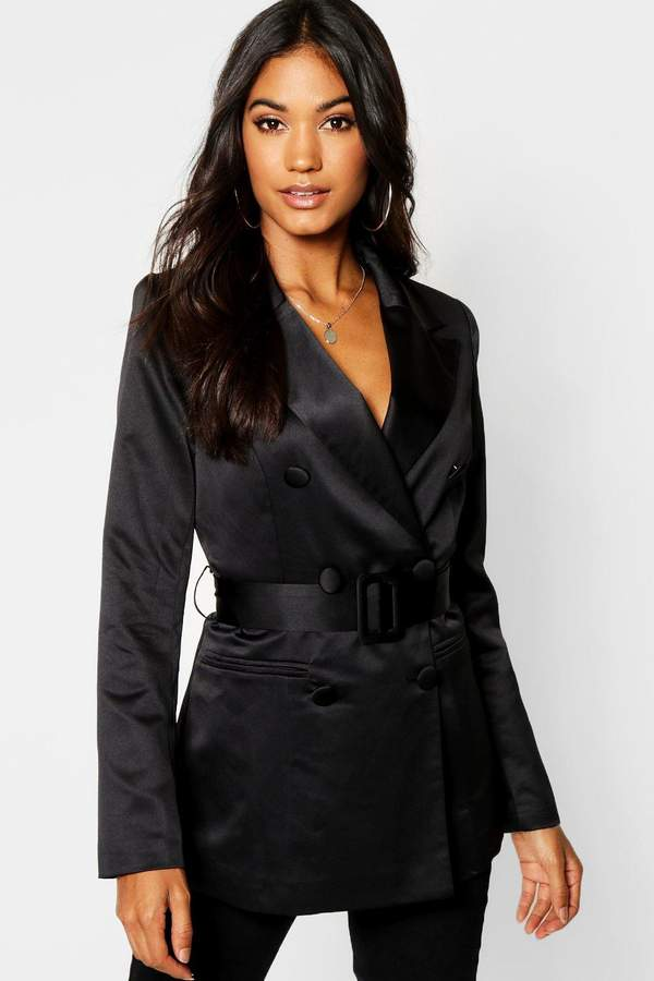 Satin Belted Double Breasted Blazer