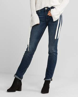 Express Petite Mid Rise Medium Wash Stretch Skinny Jeans