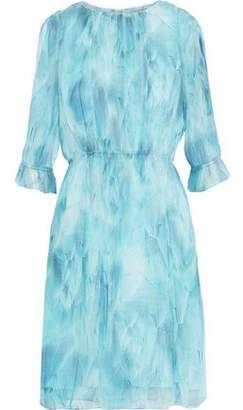 Elie Tahari Luciana Pleated Tie-Dyed Silk-Chiffon Dress