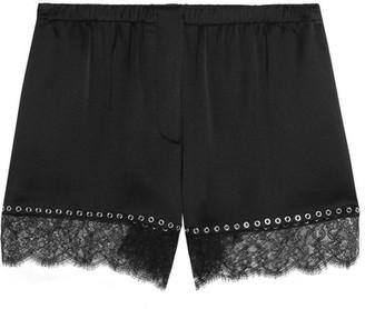Alexander Wang - Eyelet-embellished Lace-trimmed Silk-satin Shorts - Black $450 thestylecure.com