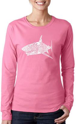 LOS ANGELES POP ART Los Angeles Pop Art Species Of Shark Long Sleeve Graphic T-Shirt