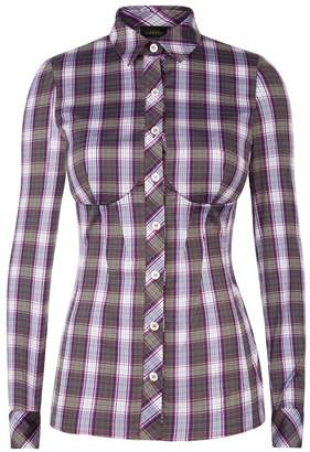 La Perla Daily Looks Violet Tartan Print Bustier Shirt With Built-In Bra