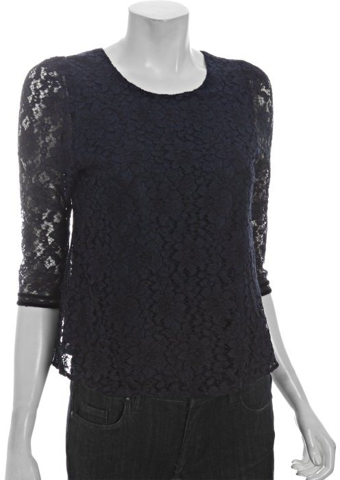 DV by Dolce Vita navy lace 'Sacha' three quarter sleeve top