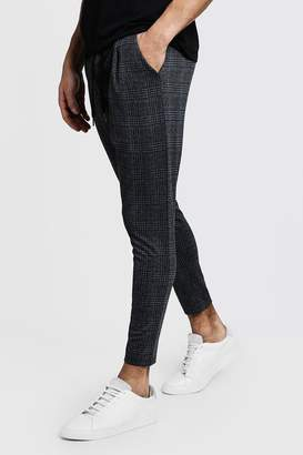 boohoo Smart Jogger In Charcoal Check