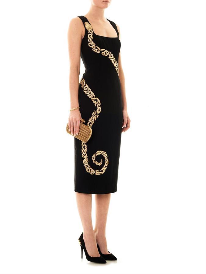 L'Wren Scott Leather snake embroidered crepe dress