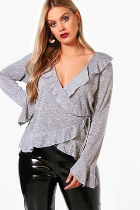 boohoo Plus Knitted Ruffle Wrap Top