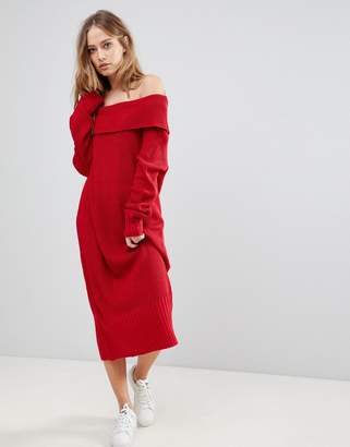 Liquorish Long Off The Shoulder Knit Dress