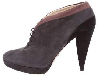 Prada Suede Lace-Up Booties
