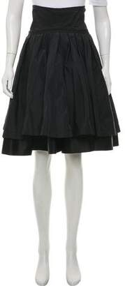 Karen Zambos Knee-Length Ruffled Skirt