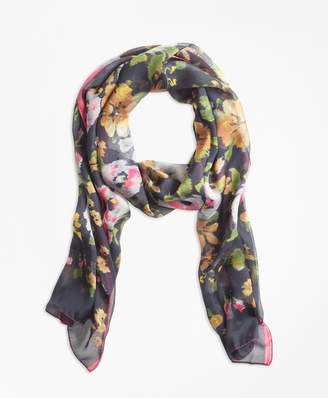 Brooks Brothers Floral Chintz Silk Square Scarf