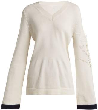 BARRIE Floral-embroidered V-neck sweater