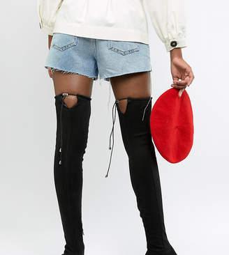 Asos Tall DESIGN Tall Kaska flat studded thigh high boots