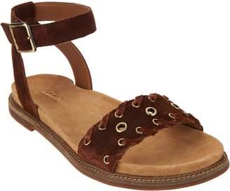 Clarks Artisan Suede Ankle Wrap Sandals - Corsio Amelia