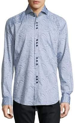 Bogosse Paisley Jacquard Long-Sleeve Sport Shirt, Gray