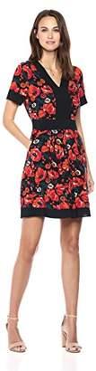 Ella Moon Women's Kelli Short Sleeve V-Neck Border A-Line Dress