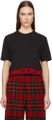 Opening Ceremony Black and Red Cropped Elastic Logo T-Shirt