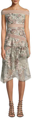PatBo Patricia Bonaldi Off-the-Shoulder Midi Dress w/ Pearly Beading