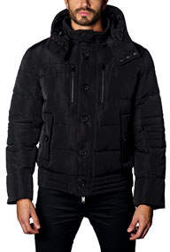 Semi-Fitted Snap-Hood Puffer Jacket