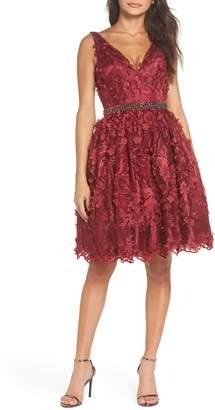 Mac Duggal Floral Applique Fit & Flare Dress