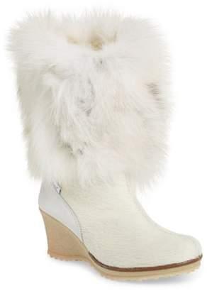 Pajar Angelina Genuine Fox Fur Wedge Boot