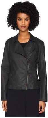 Eileen Fisher Waxed Organic Cotton Stretch Twill Stand Collar Short Zip Jacket Women's Coat
