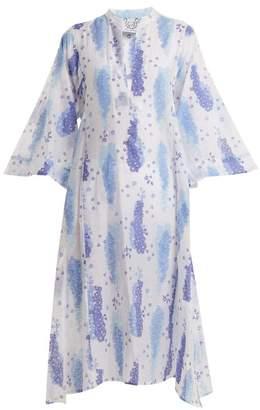 Thierry Colson Rachel Floral Print Silk Blend Kaftan - Womens - White Multi
