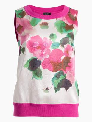 St. John Blossom Floral Print Merino Jersey Knit Shell