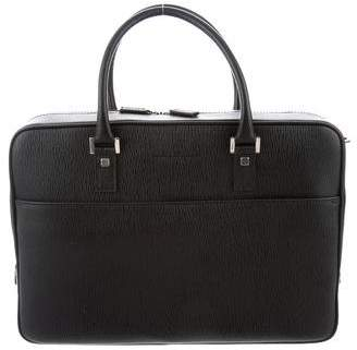 Salvatore Ferragamo Pebbled Calf Leather Briefcase