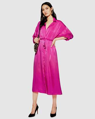 Topshop Satin Midi Shirt Dress
