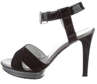 Hogan Crossover Strap Platform Sandals