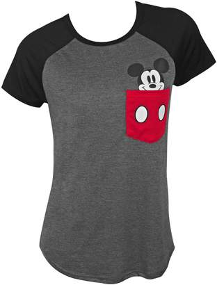 Disney Mickey Mouse Pocket Sized Women's Grey Tee Shirt
