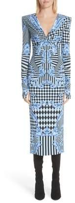 Versace Mixed Print Jersey Dress