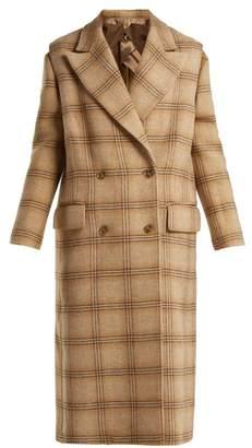 MM6 MAISON MARGIELA Detachable Sleeve Checked Wool Coat - Womens - Beige Multi