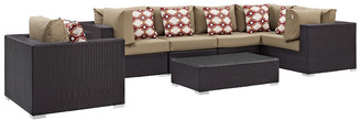 Modway Outdoor Convene 7Pc Outdoor Patio Wicker Rattan Sectional Set