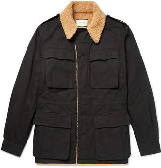 Gucci Faux Shearling-Lined Logo-Printed Cotton-Canvas Jacket