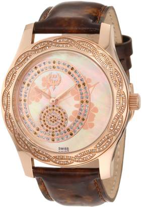 Brillier Women's 03-31325-04 Kalypso Rose-Tone Brown Leather Watch