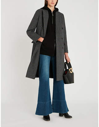 The Kooples Double-breasted checked wool-blend coat