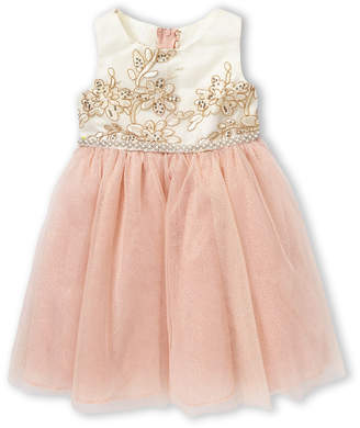 Rare Editions Toddler Girls) Gold & Light Pink Embroidered Dress