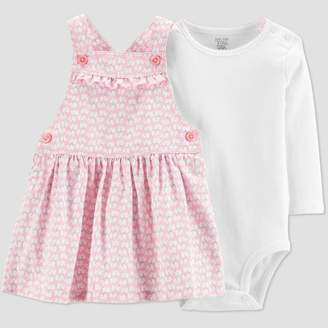 Carter's Just One You made by carter Baby Girls' 2pc Elephant Overall Dress Set - Just One You® made by Pink/White 12M