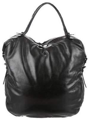 Bottega Veneta Crocodile-Trimmed Hobo Bag