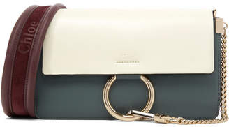 Chloé Faye Small Color-block Leather And Suede Shoulder Bag - Petrol