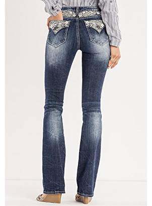Miss Me Women's Floral Expressions Boot Cut Dark Wash ()
