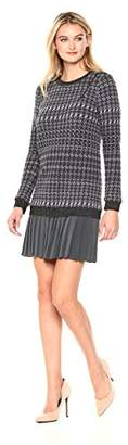 Nicole Miller Women's Wispy Houndstooth Pleated Tweed Dress
