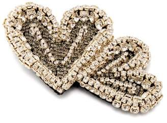 Rochas Double Heart Crystal Embellished Brooch - Womens - Crystal