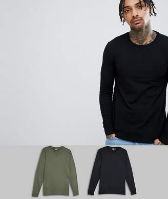 Asos DESIGN muscle sweatshirt 2 pack black/khaki