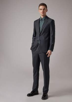 Giorgio Armani Slim-Fit Soho Line Patterned Tuxedo Jacket In Sable Wool Blend Wool